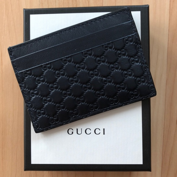 Gucci Other - Gucci Dark Navy Guccisima Card Case Wallet